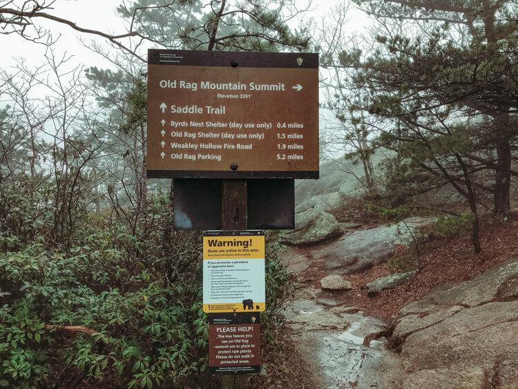 Old Rag Summit sign - Top Things to do in Shenandoah National Park