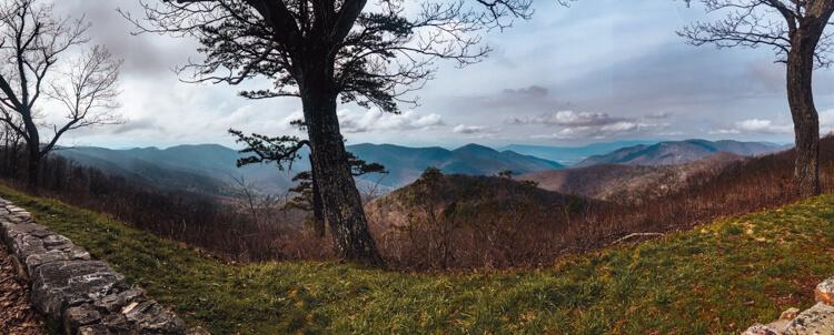 Panorama from an overlook on Skyline Drive of the view with mountains