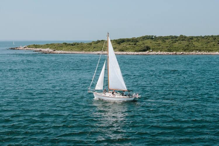 Sail boat on the ocean at Marthas Vineyard