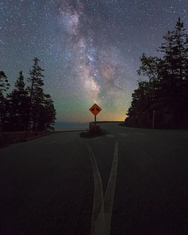 Starry night in the middle of Acadia National Park