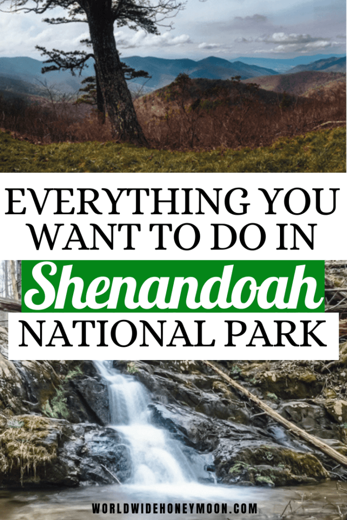 Top Things to do in Shenandoah National Park | Top photo is a panorama of mountains and the bottom is a waterfall