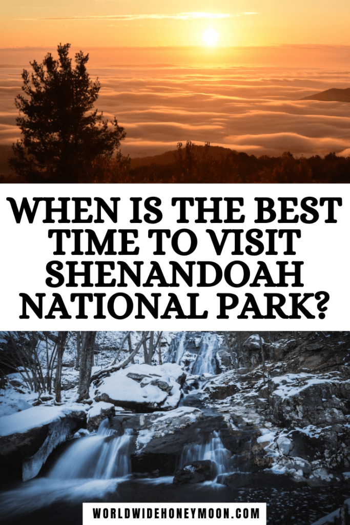 When is the Best Time to Visit Shenandoah National Park | Top photo is a sunset over the clouds and bottom photo is a waterfall in the winter