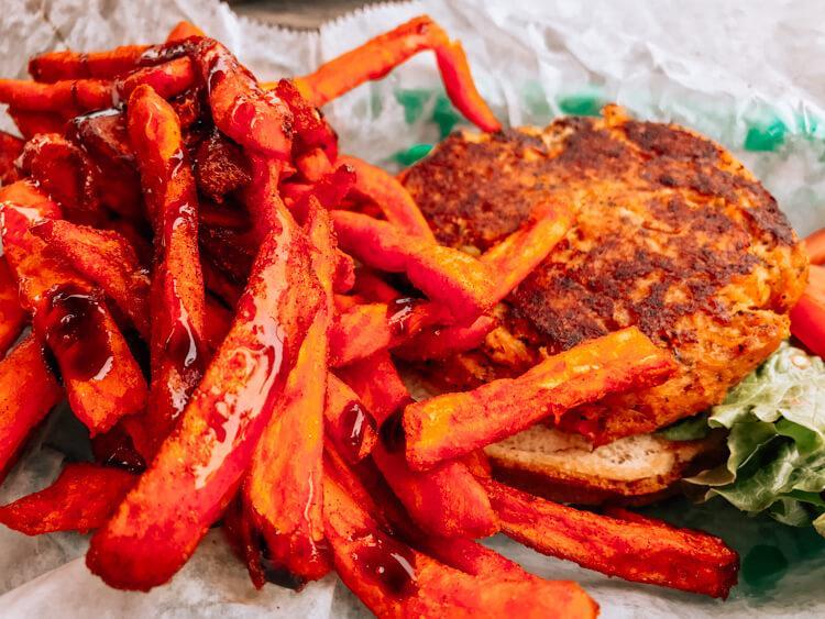 Crab cake and fries at North Beach Bar and Grill