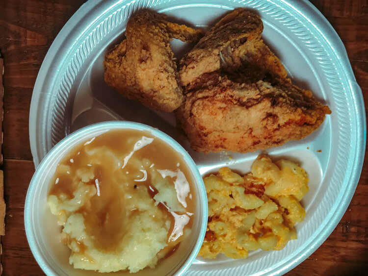 Fried chicken, mashed potatoes, and mac n cheese from Mrs. Wilkes Dining Room