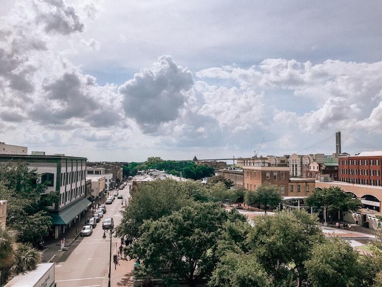 Rooftop bar in Savannah and views
