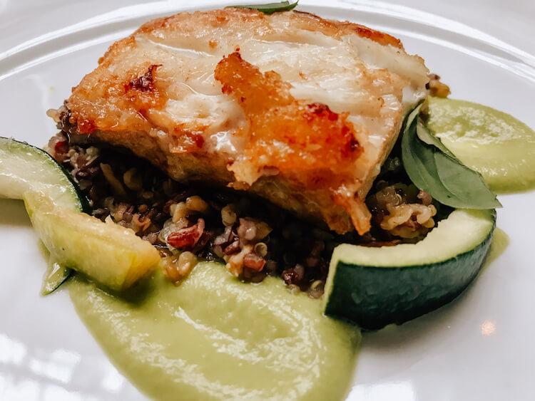 Wreckfish over mixed grains with summer squash