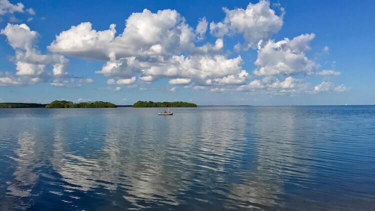 Biscayne National Park with kayaker in the distance - National Park Honeymoon