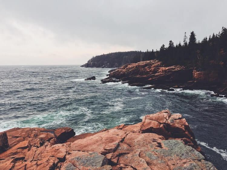 Craggy rocks by Acadia National Park on the sea