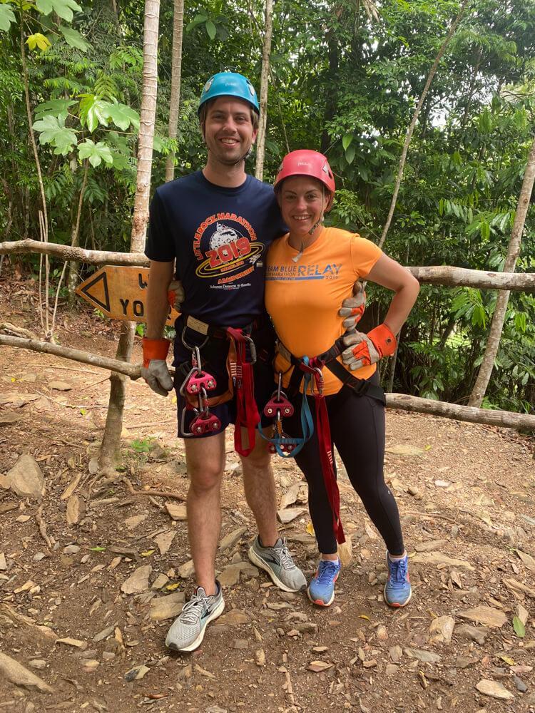 Kat and Chris Ziplining in Belize