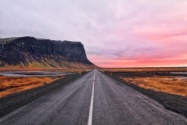 sunset along an Iceland road