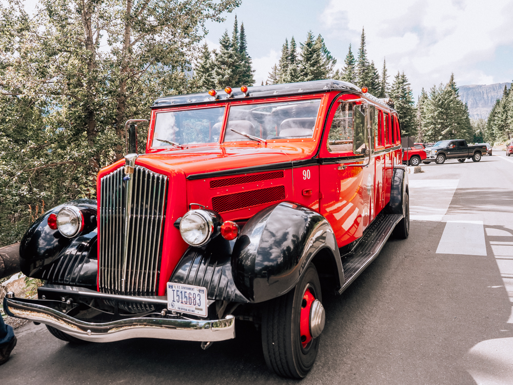 Red Jammer bus in Glacier National Park