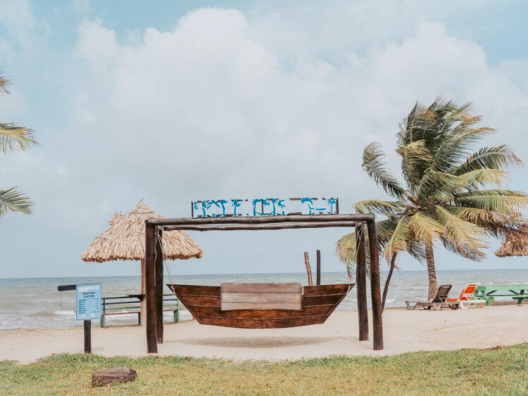 Hopkins Bay Resort boat seat and sign