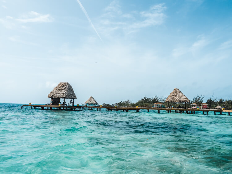 Huts over the water in Belize