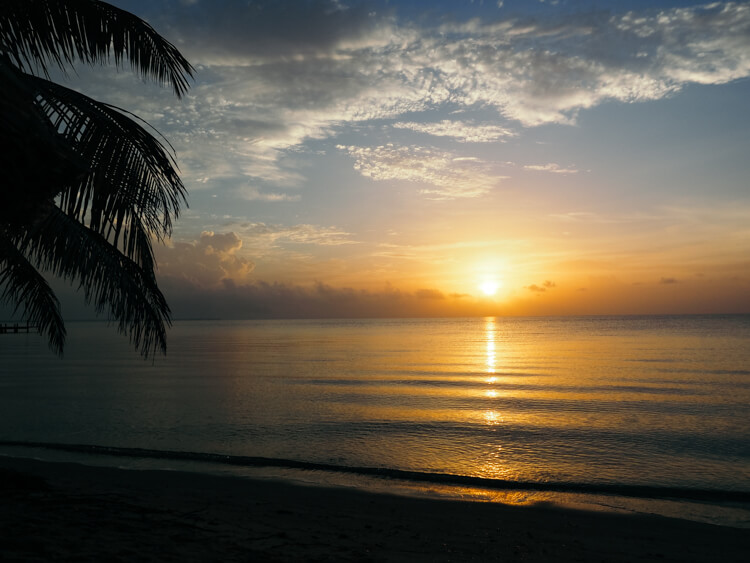 Sunrise at Hopkins Bay Resort over the Caribbean Sea